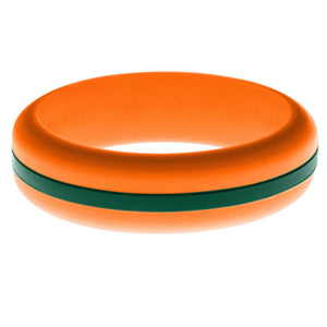 Womens Orange Silicone Ring with Dark Green Changeable Color Band