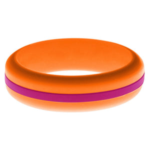 Womens Orange Silicone Ring with Dark Pink Changeable Color Band