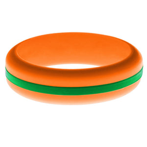 Womens Orange Silicone Ring with Green Changeable Color Band