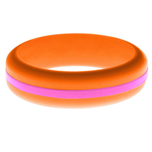 Womens Orange Silicone Ring with Hot Pink Changeable Color Band
