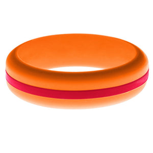 Womens Orange Silicone Ring with Red Changeable Color Band