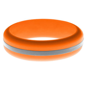 Womens Orange Silicone Ring with Silver Changeable Color Band