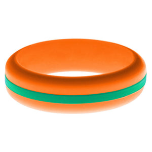 Womens Orange Silicone Ring with Teal Changeable Color Band