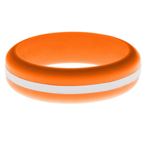 Womens Orange Silicone Ring with White Changeable Color Band