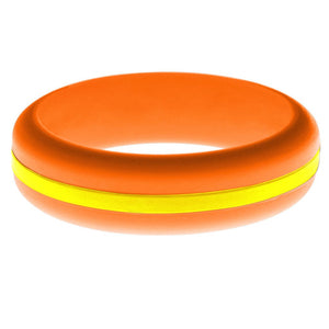 Womens Orange Silicone Ring with Yellow Changeable Color Band
