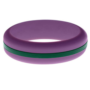 Womens Purple Silicone Ring with Dark Green Changeable Color Band