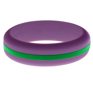 Womens Purple Silicone Ring with Green Changeable Color Band