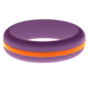 Womens Purple Silicone Ring with Orange Changeable Color Band