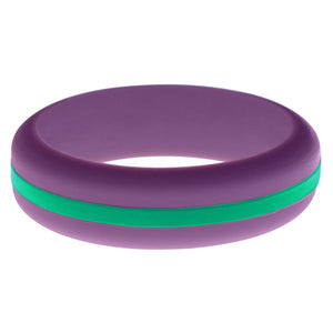 Womens Purple Silicone Ring with Teal Changeable Color Band
