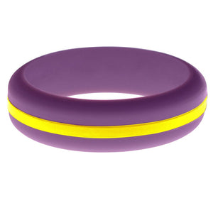Womens Purple Silicone Ring with Yellow Changeable Color Band