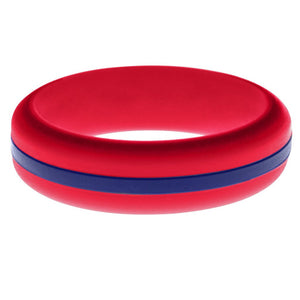 Womens Red Silicone Ring with Blue Changeable Color Band