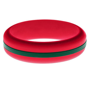 Womens Red Silicone Ring with Dark Green Changeable Color Band