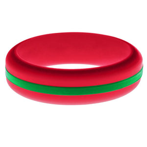 Womens Red Silicone Ring with Green Changeable Color Band