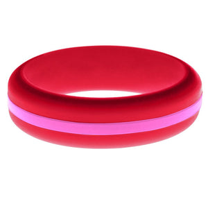 Womens Red Silicone Ring with Hot Pink Changeable Color Band