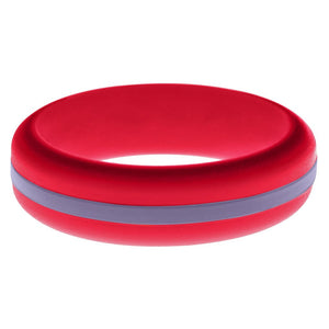 Womens Red Silicone Ring with Medium Purple Changeable Color Band