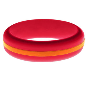Womens Red Silicone Ring with Orange Changeable Color Band