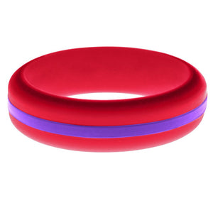Womens Red Silicone Ring with Purple Changeable Color Band