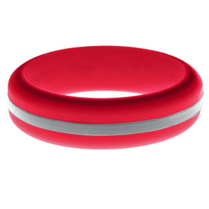 Womens Red Silicone Ring with Silver Changeable Color Band