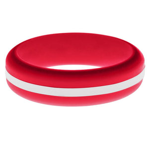 Womens Red Silicone Ring with White Changeable Color Band