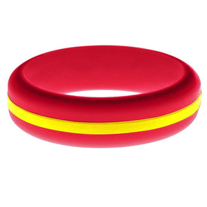 Womens Red Silicone Ring with Yellow Changeable Color Band