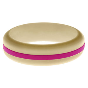 Womens Sand Silicone Ring with Dark Pink Changeable Color Band