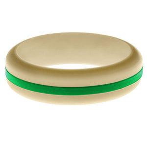 Womens Sand Silicone Ring with Green Changeable Color Band