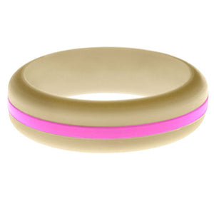 Womens Sand Silicone Ring with Hot Pink Changeable Color Band