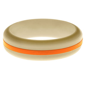 Womens Sand Silicone Ring with Orange Changeable Color Band