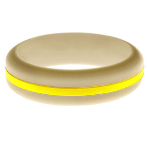 Womens Sand Silicone Ring with Yellow Changeable Color Band
