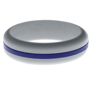 Womens Silver Silicone Ring with Blue Changeable Color Band