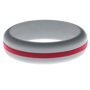 Womens Silver Silicone Ring with Cardinal Red Changeable Color Band