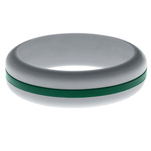 Womens Silver Silicone Ring with Dark Green Changeable Color Band
