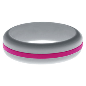 Womens Silver Silicone Ring with Dark Pink Changeable Color Band