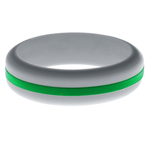 Womens Silver Silicone Ring with Green Changeable Color Band