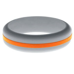 Womens Silver Silicone Ring with Orange Changeable Color Band