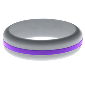Womens Silver Silicone Ring with Purple Changeable Color Band