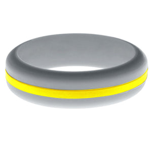 Womens Silver Silicone Ring with Yellow Changeable Color Band