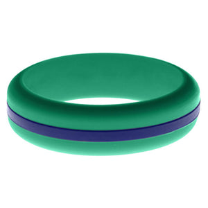 Womens Teal Silicone Ring with Blue Changeable Color Band