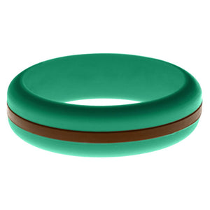 Womens Teal Silicone Ring with Brown Changeable Color Band