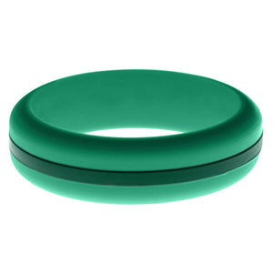 Womens Teal Silicone Ring with Dark Green Changeable Color Band