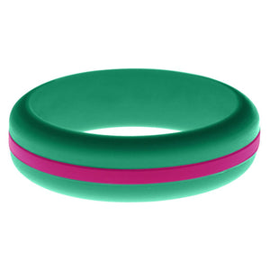 Womens Teal Silicone Ring with Dark Pink Changeable Color Band