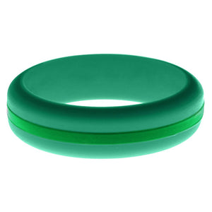 Womens Teal Silicone Ring with Green Changeable Color Band