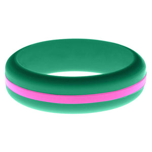 Womens Teal Silicone Ring with Hot Pink Changeable Color Band