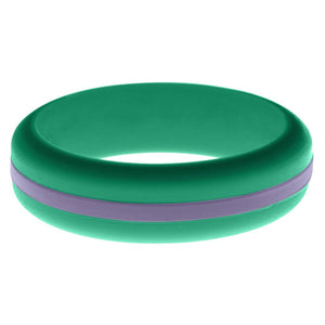 Womens Teal Silicone Ring with Medium Purple Changeable Color Band