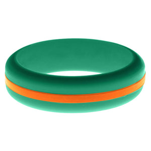 Womens Teal Silicone Ring with Orange Changeable Color Band