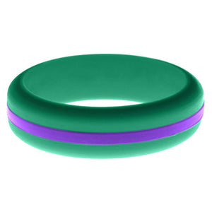 Womens Teal Silicone Ring with Purple Changeable Color Band