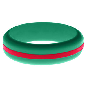 Womens Teal Silicone Ring with Red Changeable Color Band