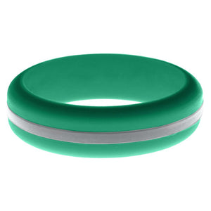 Womens Teal Silicone Ring with Silver Changeable Color Band