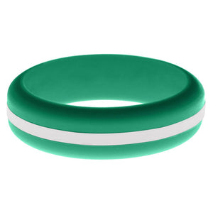 Womens Teal Silicone Ring with White Changeable Color Band
