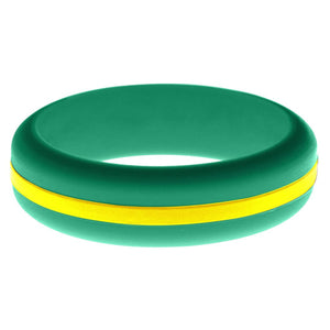 Womens Teal Silicone Ring with Yellow Changeable Color Band